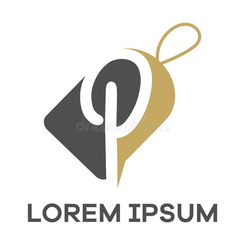 P letter logo design. Letter p in sale/discount tag vector illustration. P letter logo design. Letter P in tag shape vector illustration