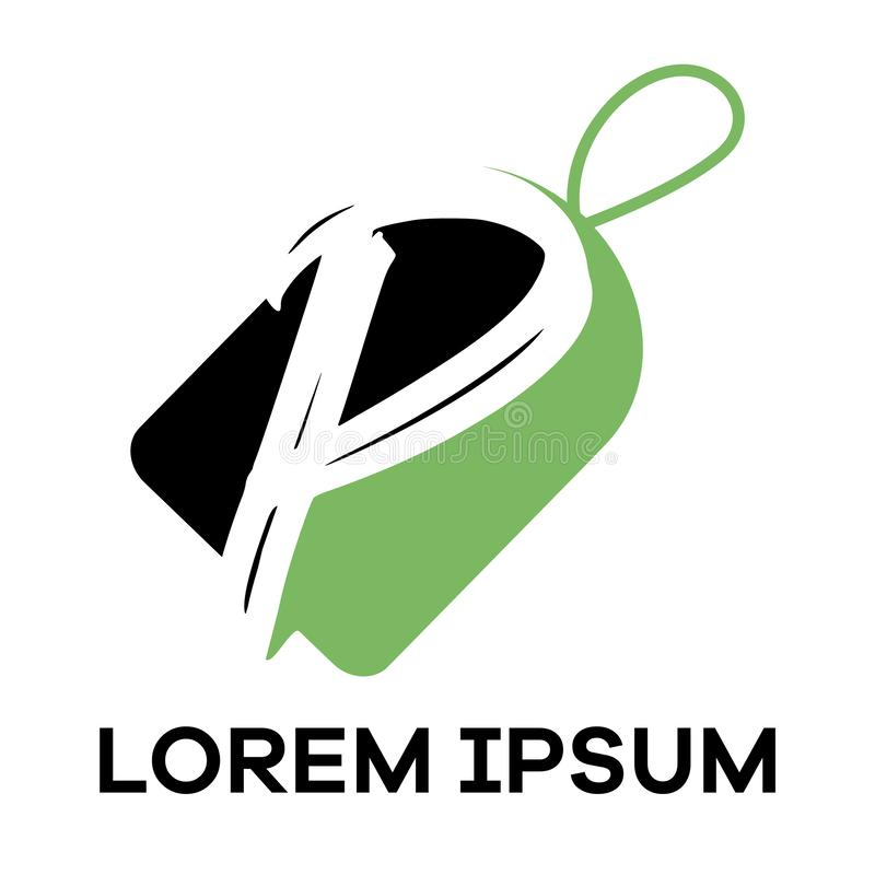 P letter logo design. Letter p in sale/discount tag vector illustration. P letter logo design. Letter P in tag shape royalty free illustration