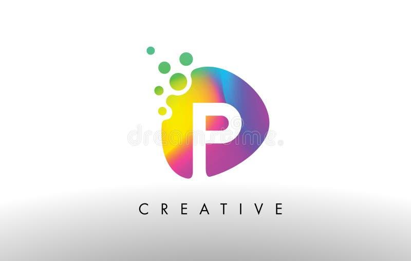 P Logo Design Shape colorido Icono abstracto púrpura de la letra de la forma ilustración del vector