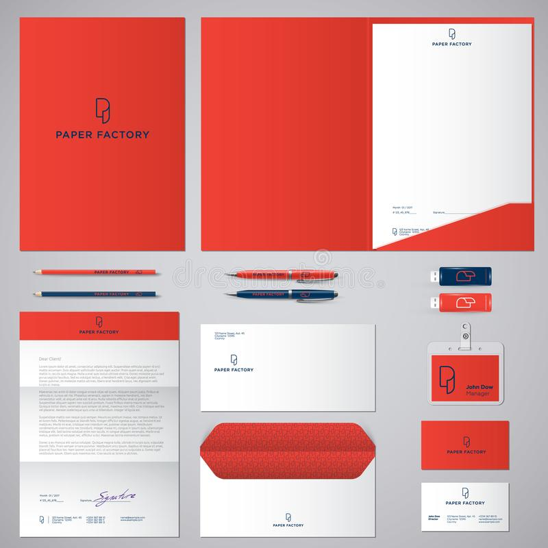 P logo and identity. Roll of paper logo. Envelope, folder, cover, letterhead, letter, pens, pencils, badges and business cards. royalty free illustration
