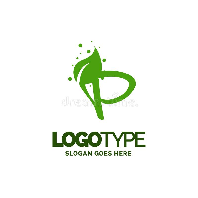 P logo with Leaf Element. Nature Leaf logo designs, Simple leaf. Logo symbol. Natural, eco food. Organic food badges in vector. Vector logos. Natural logos with vector illustration