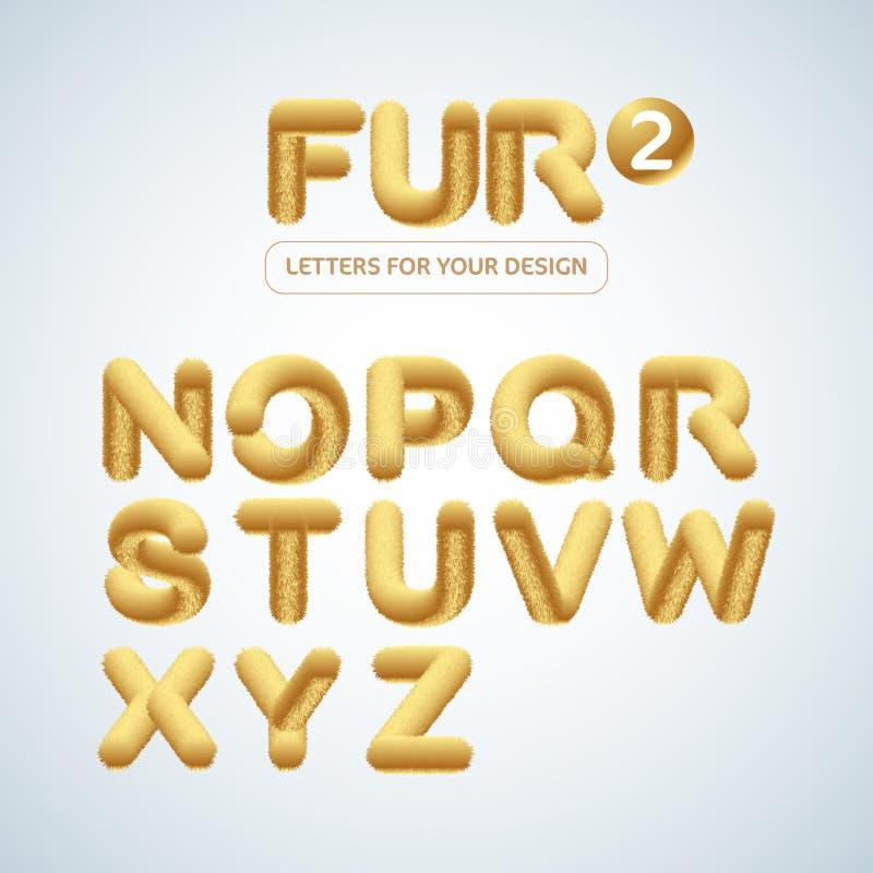 P?ls och det fluffiga och guld- bokstavsalfabetet st?llde in 2 Isolerad vektorillustration royaltyfri bild