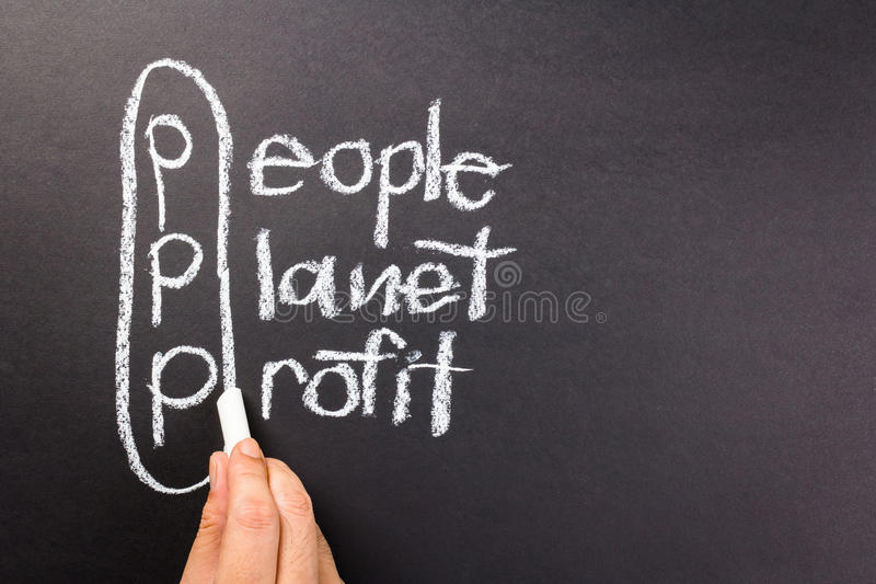 3p marketing. People, planet, profit, marketing of sustainable business on chalkboard stock photo