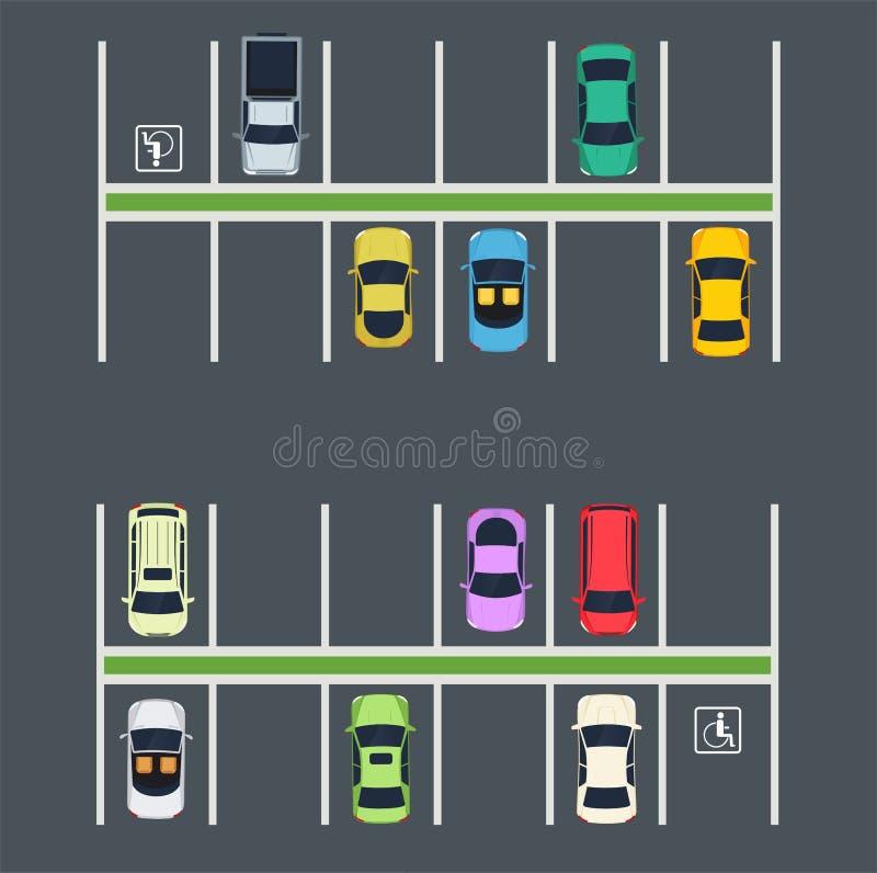 P med bilar Bästa sikt av stadsparkeringszonen vektor illustrationer