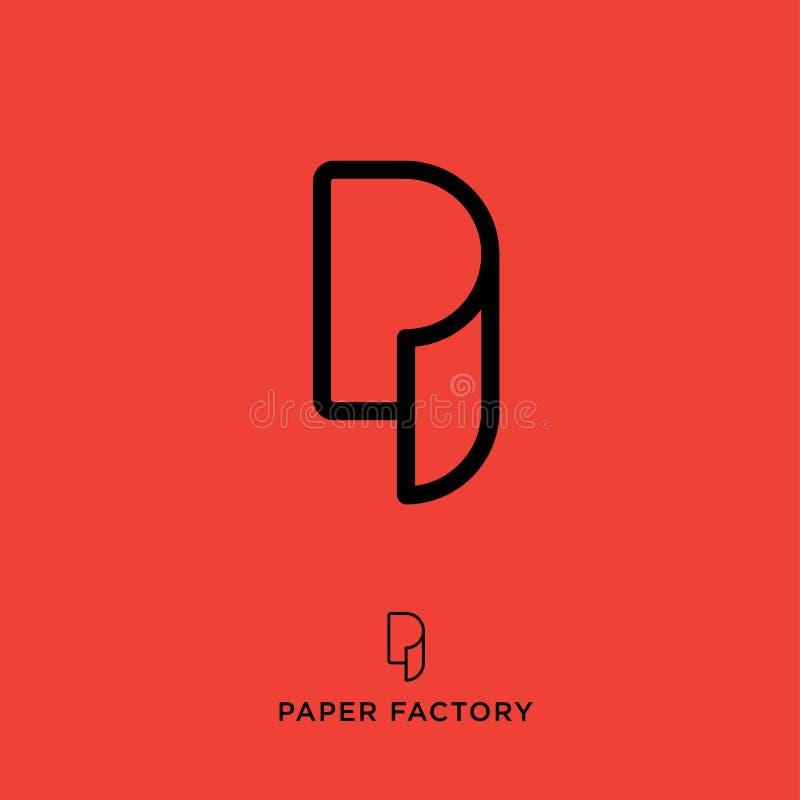 P-Monogramm p-Logo Papierfabrikemblem Buchstabe P als Papierrolle Tapetenikone lizenzfreie abbildung
