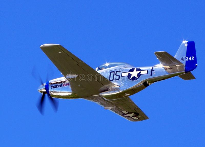 P51 Mustang Tigers Revenge. This P51 Mustang is taking off from Republic Airport Farmingdale New York to participate in the Bethpage Federal Credit Union Air stock images