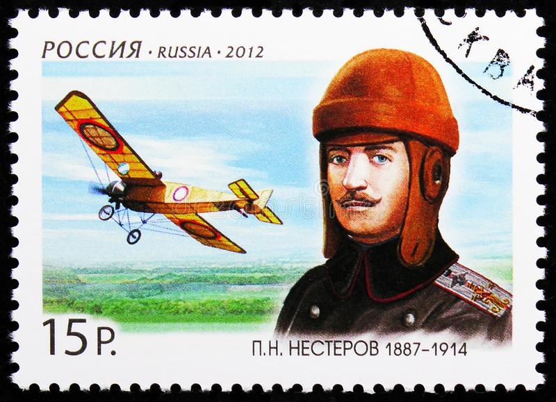 P.N. Nesterov 1887-1914, Military Pilot, 125th Anniversary of P.N. Nesterov serie, circa 2012. MOSCOW, RUSSIA - AUGUST 10, 2019: Postage stamp printed in Russia stock images