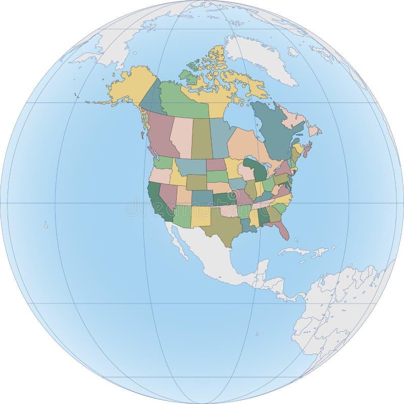 P??nocna Ameryka mapa z usa i Kanada royalty ilustracja