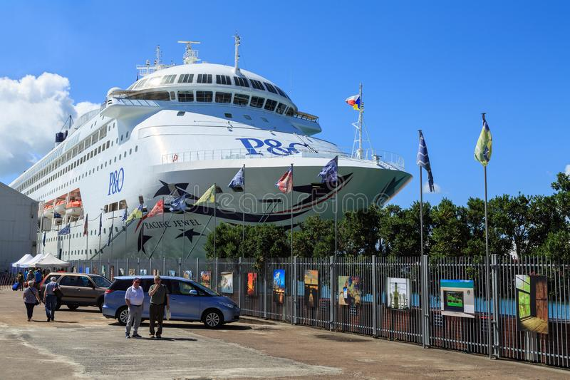A P and O cruise liner docked in the Port of Auckland royalty free stock images