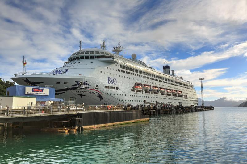 A P&O cruise liner alongside the wharf in Picton, New Zealand stock photos