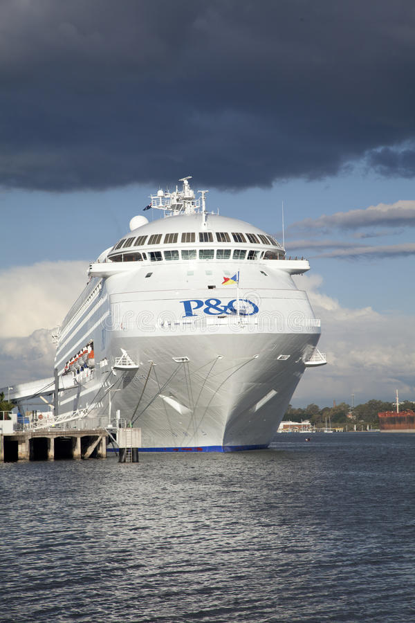 P & O cruse ship docked in Brisbane vertical royalty free stock images