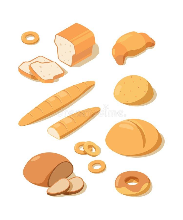 P?o fresco Pão de cozimento branco do pretzel do naco e preto fresco do alimento isométrico do vetor das pastelarias da padaria ilustração stock