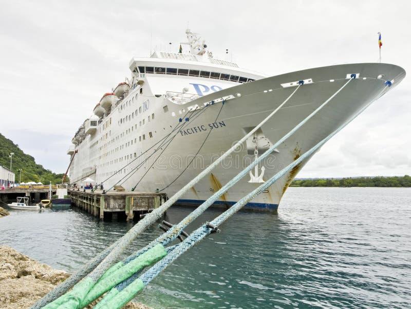 P&O Pacific Sun cruise ship in Port Vila royalty free stock image