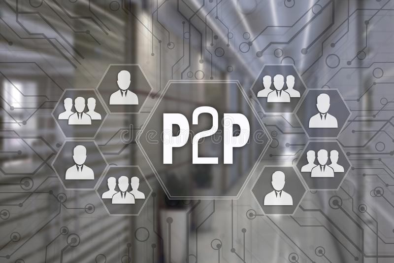 P2P, Peer to peer on the touch screen with a blur background o stock photo