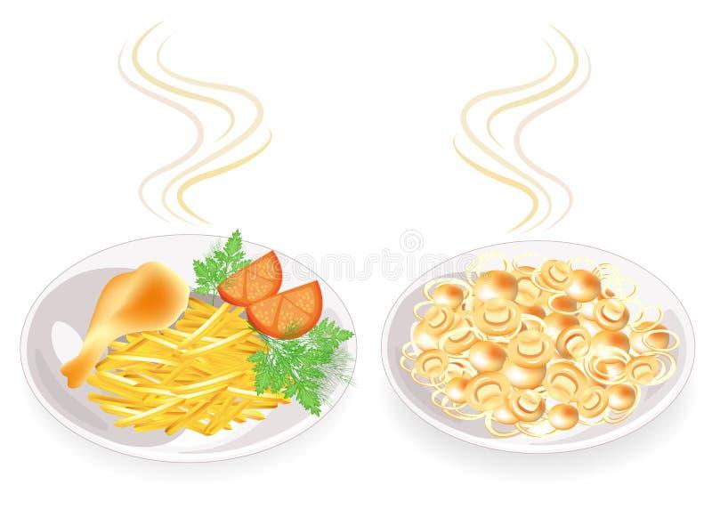 P? plattan ?r trumpinnen av fegt k?tt Garneringen stekte potatisar, champinjoner, tomaten, dillgräsplaner och persilja SMAKLIGT O stock illustrationer