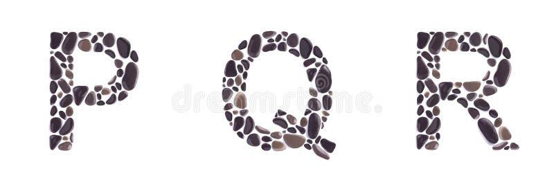 P-, q- und r-Buchstaben machten von den Steinen, die auf weißem Hintergrund lokalisiert wurden stockbilder
