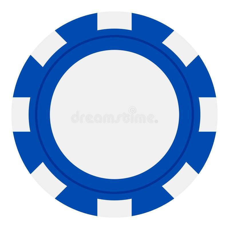 Pôquer azul Chip Flat Icon Isolated no branco ilustração stock