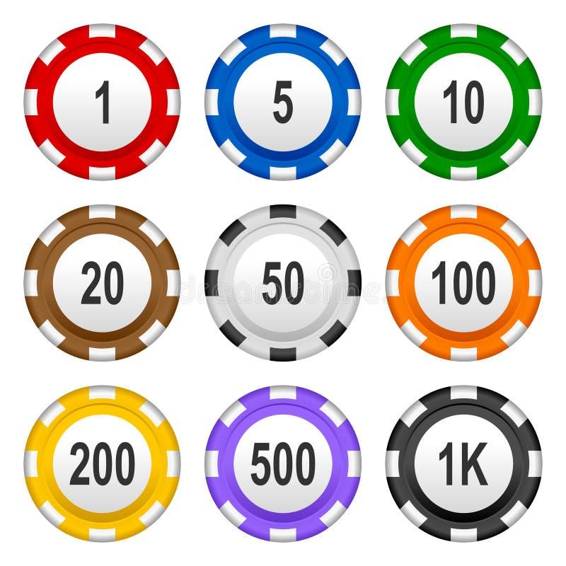 Pôquer de jogo Chips Set colorido do casino ilustração royalty free