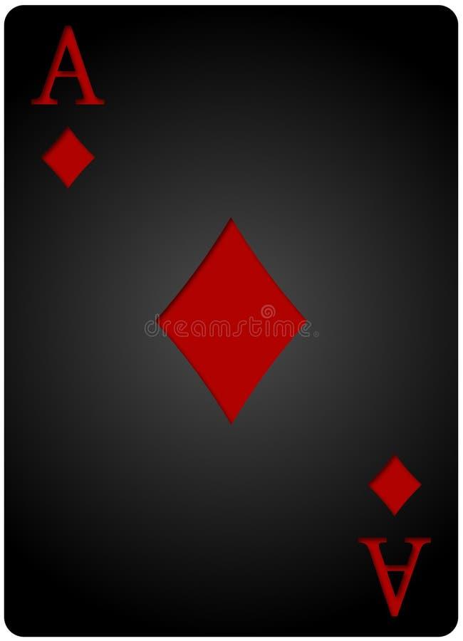 Pôquer do cartão dos diamantes de Ace ilustração do vetor