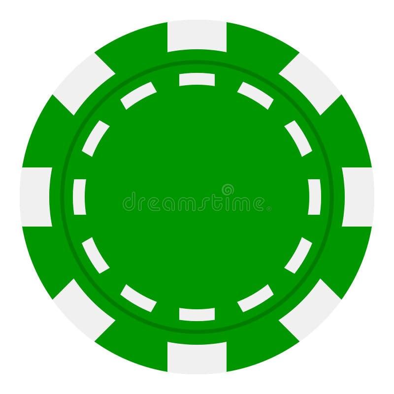 Pôquer verde Chip Flat Icon Isolated no branco ilustração royalty free