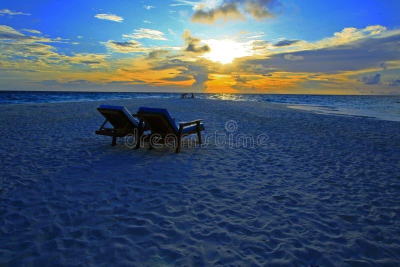 Pôr do sol sonhador maldives fotografia de stock royalty free