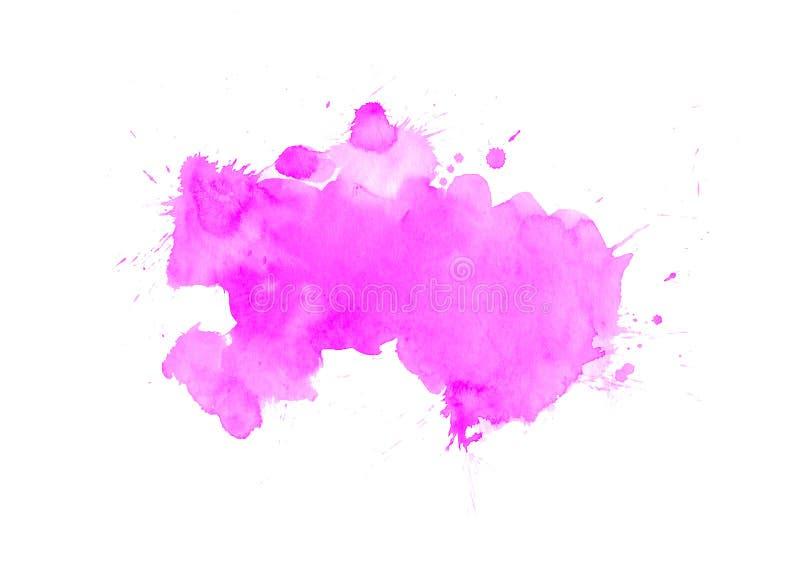 P?rpura, violeta, lila y manchas azules de la acuarela Elemento de color brillante para el fondo art?stico abstracto imagen de archivo