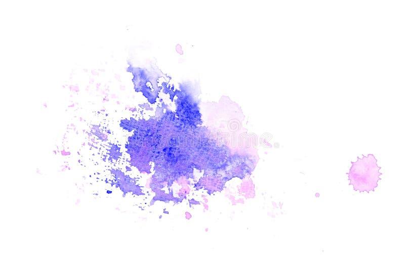 P?rpura, violeta, lila y manchas azules de la acuarela Elemento de color brillante para el fondo art?stico abstracto ilustración del vector