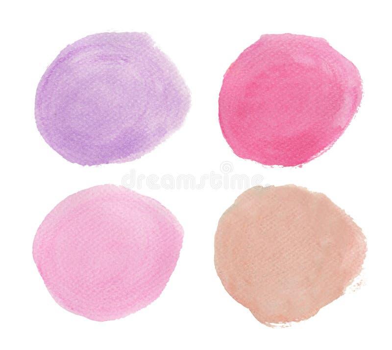 P?rpura y color de rosa La acuarela redonda salpica stock de ilustración