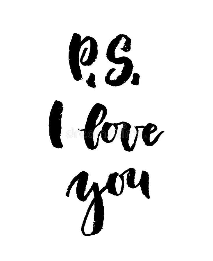 P S älskar jag dig hälsningkortet med kalligrafi royaltyfri illustrationer