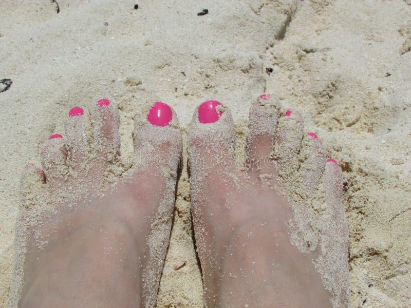 P?s na areia foto de stock
