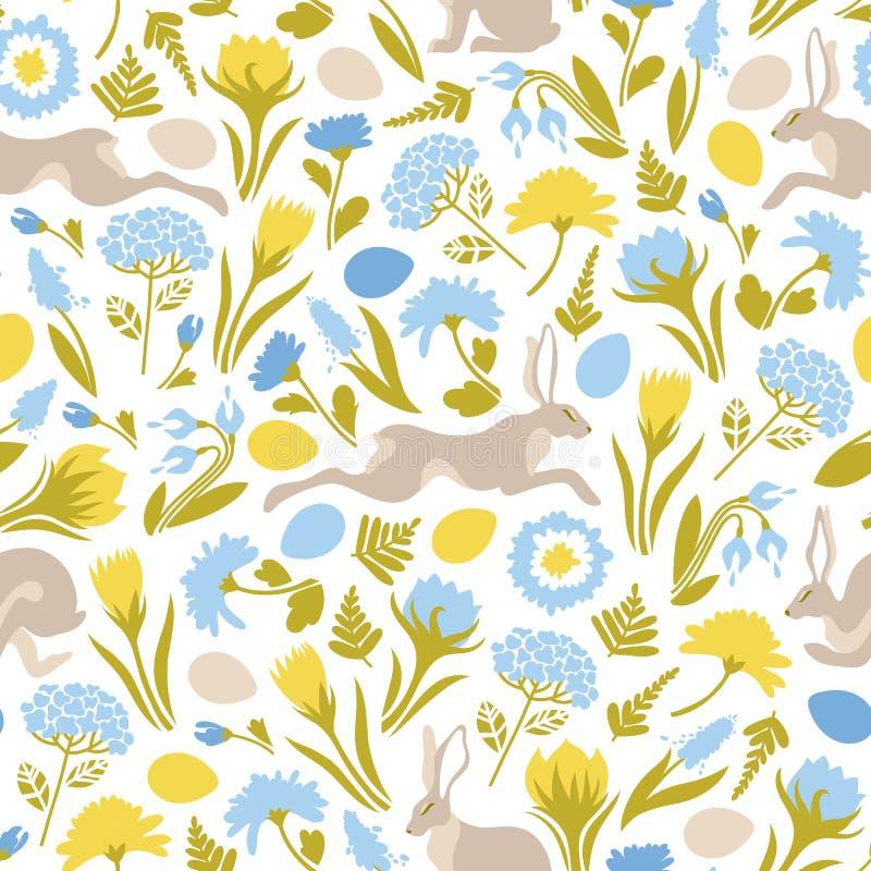 P?sk Sömlös modell med banhoppningeaster kaniner, blommor, ägg Gullig textur f?r designen av yttersidor vektor illustrationer
