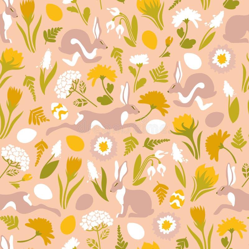 P?sk S?ml?s modell med banhoppningeaster kaniner, blommor, ?gg Gullig textur f?r designen av yttersidor royaltyfri illustrationer