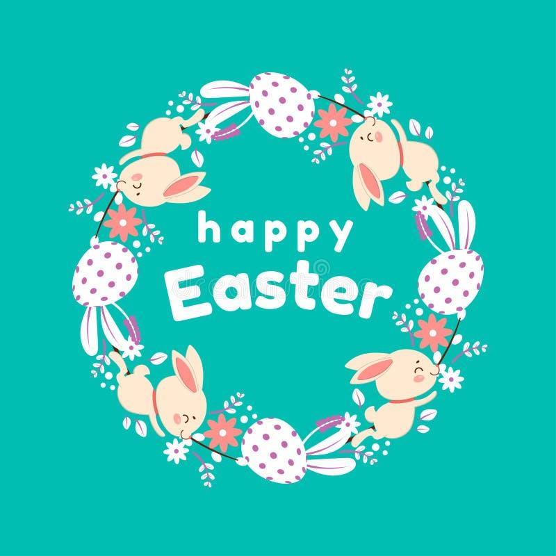 P?skkrans av blommor, ?gg och kaniner Isolerat p? turkosbakgrund royaltyfri illustrationer