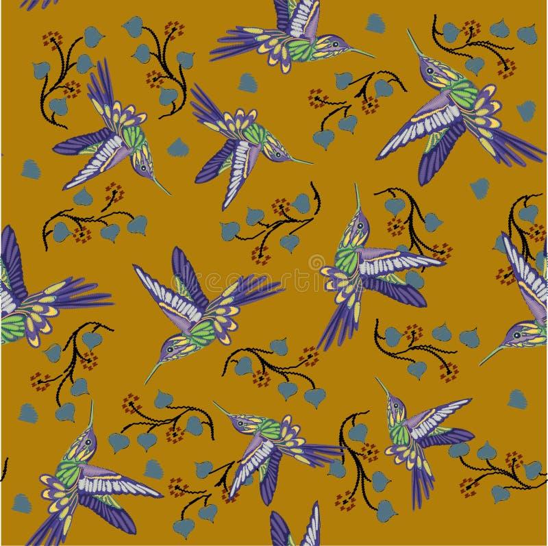 P?ssaro do zumbido e teste padr?o sem emenda de floresc?ncia do bordado da cereja Colibris bonitos e flores de florescência branc ilustração royalty free