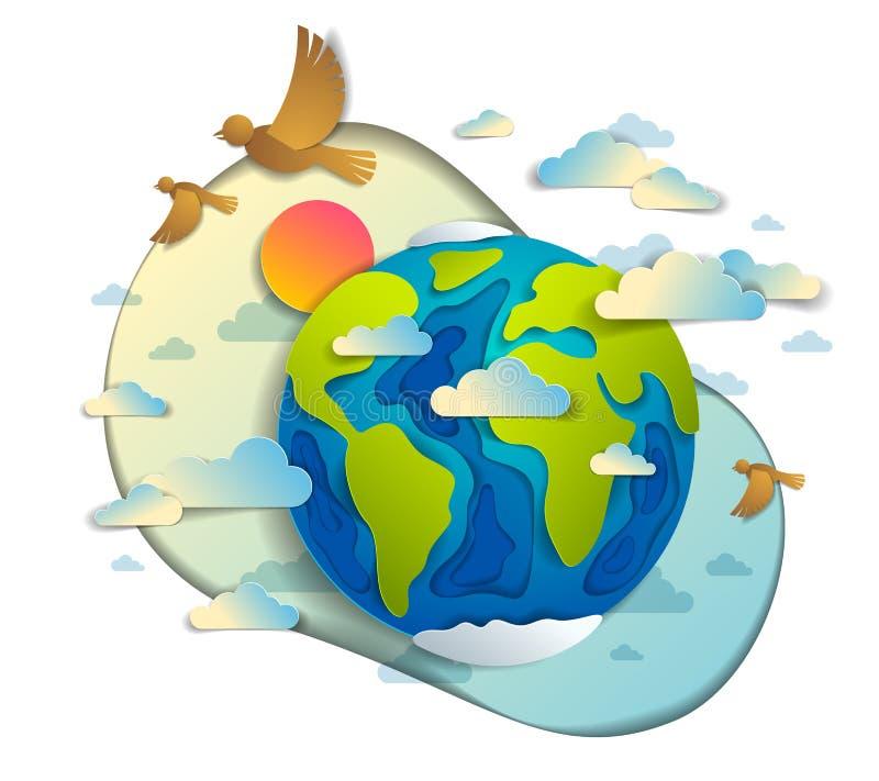 P?ssaros das nuvens da terra dos desenhos animados que voam e ilustra??o moderna do corte 3d do papel do estilo do vetor do sol S ilustração do vetor