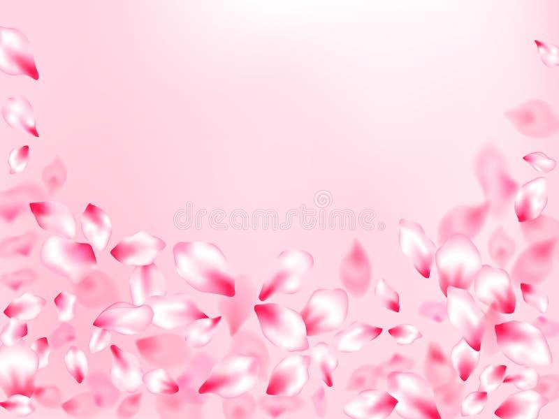 P?talos rosados de la flor de cerezo aislados en fondo color de rosa del color Las piezas de la flor de Sakura que vuelan saltan  libre illustration
