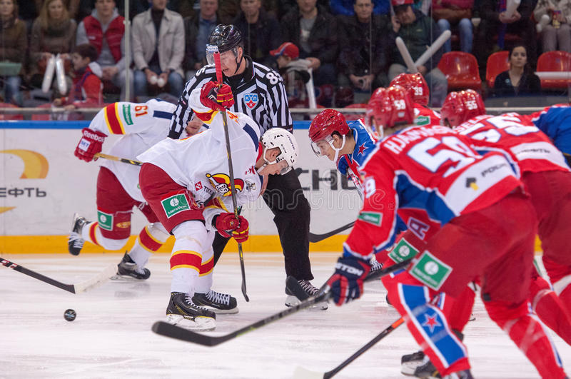 P. Virtanen (26) and N. Prokhorkin(74) on faceoff royalty free stock images