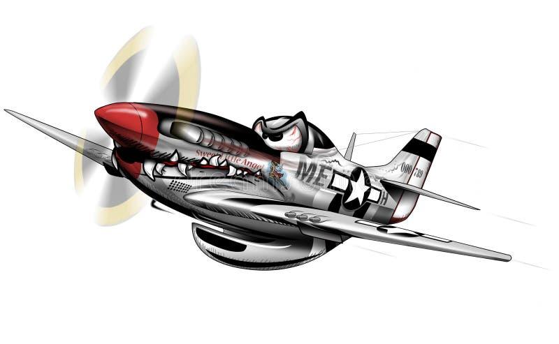 P-51 WWII mustanga samolotu kreskówka ilustracja wektor