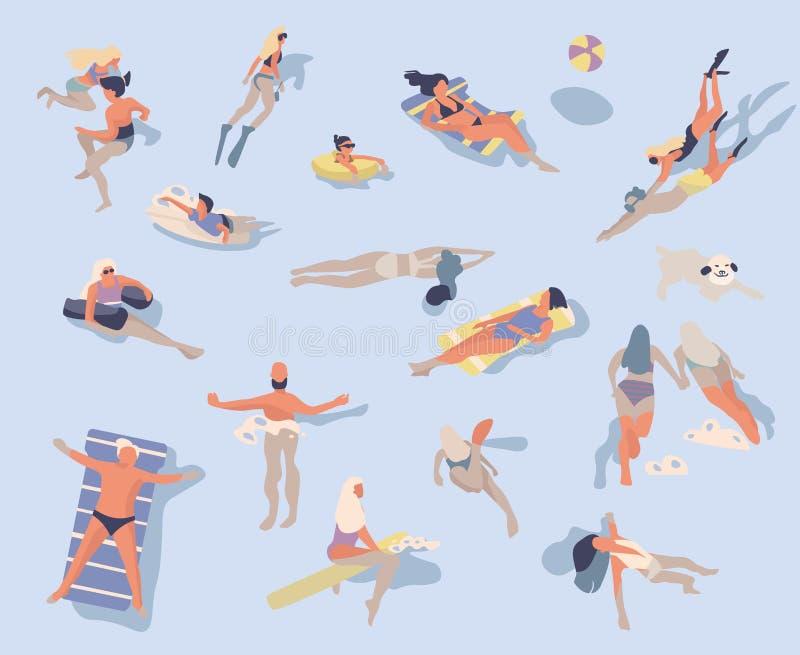 P?ywaccy ludzie Postacie z kreskówki robi lato aktywność w wodzie, pływa sunbathing surfing ilustracji