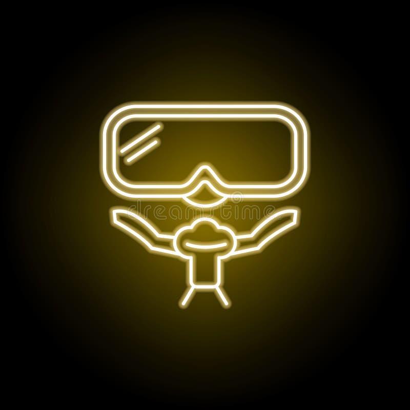 p?ywacka maskowa ikona w neonowym stylu Znaki i symbole mog? u?ywa? dla sieci, logo, mobilny app, UI, UX ilustracja wektor