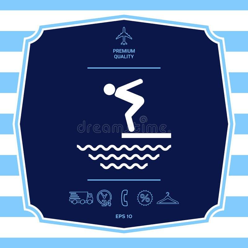 P?ywaczka na trampolinie, Skacze w wod? - ikona royalty ilustracja