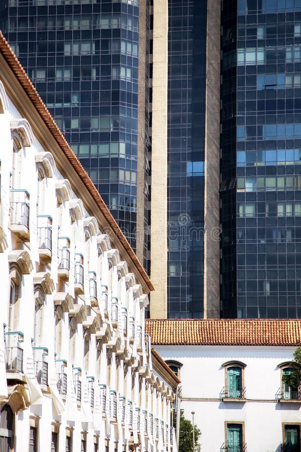 Paço Imperial, Rio de Janeiro: the contrast between colonial and modern architecture buildings. stock images