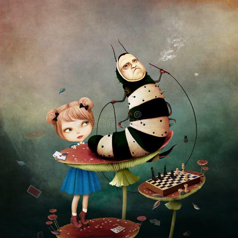 País das maravilhas de Caterpillar ilustração royalty free