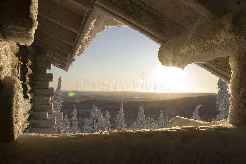 País das maravilhas do inverno de Lapland foto de stock royalty free