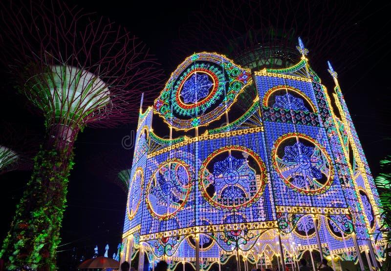 País de las maravillas de la Navidad en los jardines por la bahía, Singapur foto de archivo