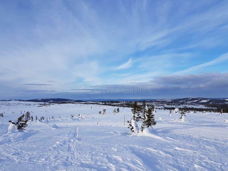 País de las maravillas del invierno cielo agradable con las nubes finas imágenes de archivo libres de regalías