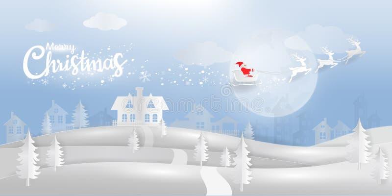 País de las maravillas del invierno con estilo del corte del papel de Santa Caluse y del reno libre illustration