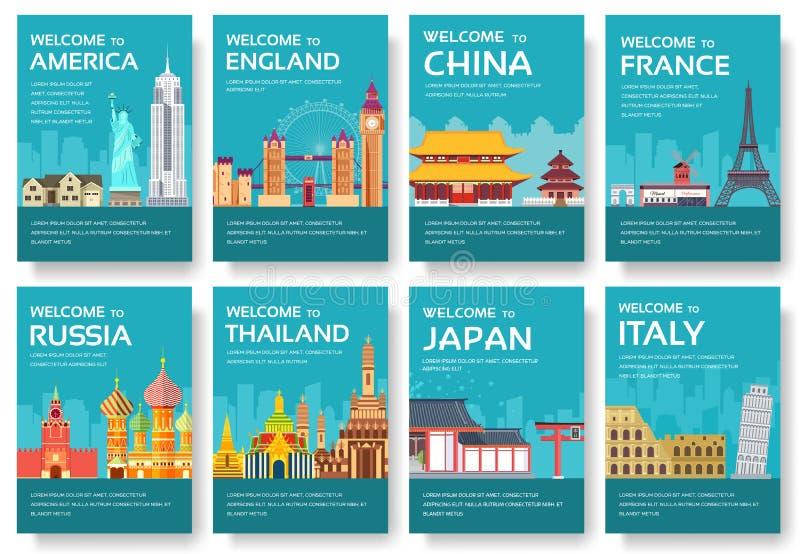 País de los E.E.U.U., Inglaterra, China, Frnace, sistema de tarjetas de Rusia, Tailandia, Japón, Italia Viaje del mundo del aviad stock de ilustración