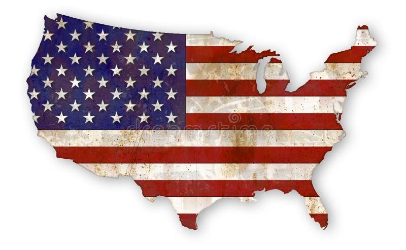 País EUA do Grunge da bandeira americana ilustração do vetor