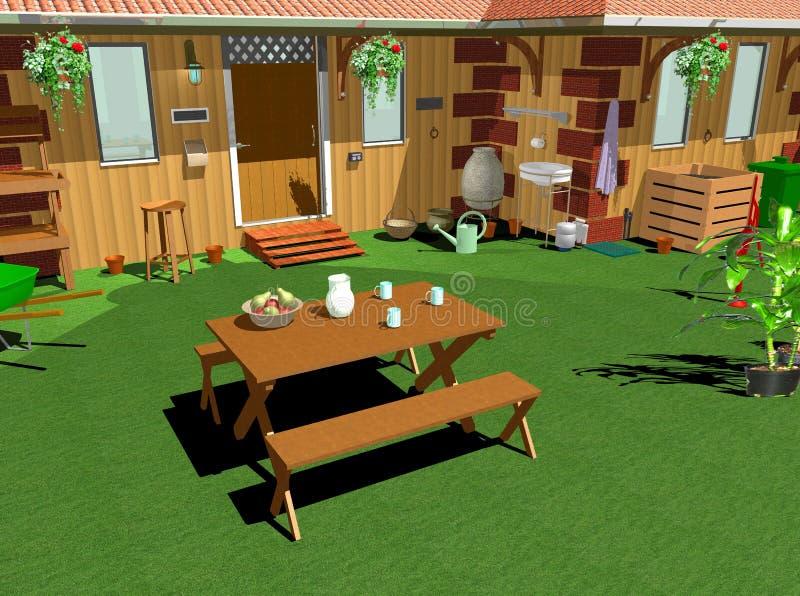 País Garden-Lunch-3D casero ilustración del vector